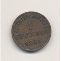 Allemagne - Hesse Darmstadt - 1 pfennig - 1869
