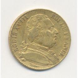 Louis XVIII - 20 Francs Or - 1815 Q Perpignan - Buste habillé - grappe horizontale