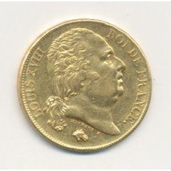 Louis XVIII - 20 Francs Or - 1817 A Paris - Buste nu