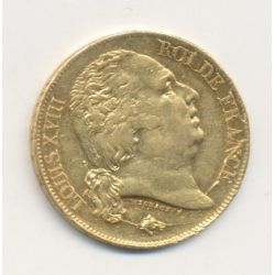 Louis XVIII - 20 Francs Or - 1817 W Lille - Buste nu