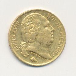 Louis XVIII - 20 Francs Or - 1824 Q Perpignan - Buste nu