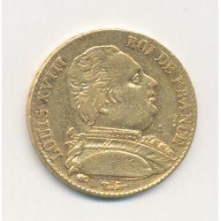 Louis XVIII - 20 Francs Or - 1815 B Rouen - Buste habillé