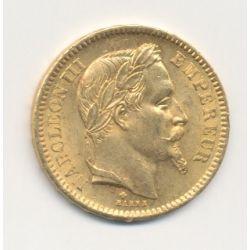 Napoléon III - 20 Francs Or - 1865 BB Strasbourg - Tête laurée