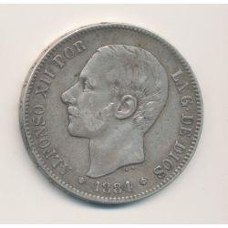 Espagne - 5 Pesetas 1884 - Alfonso XII