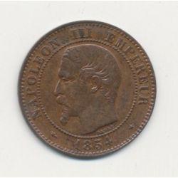 2 centimes Napoléon III - 1854 BB Strasbourg - Tête nue