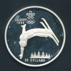 20 Dollars 1986 JO saut à ski