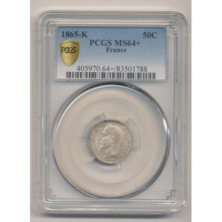 50 centimes Napoléon III - 1865 K Bordeaux - Tête laurée - PCGSMS64+ 83501788