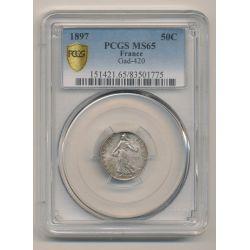 50 Centimes Semeuse - 1897 - PCGS MS65 83501775