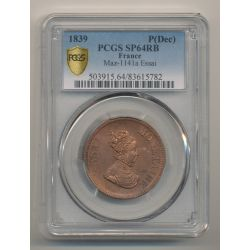 10 Centimes 1839 Essai Louis XIII - PCGS SP64RB