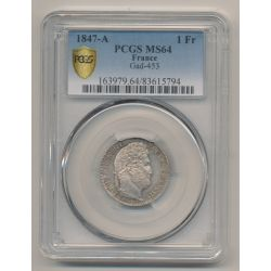 Louis Philippe I - 1 Franc - 1847 A Paris - PCGS MS64