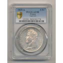 5 Francs Charles X - 1825 A Paris - PCGS AU58
