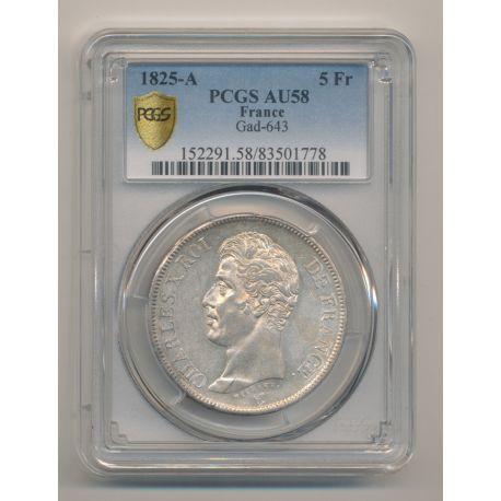 5 Francs Charles X - 1825 A Paris - PCGS AU58 83501778
