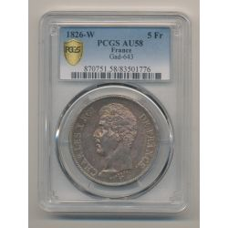 5 Francs Charles X - 1826 W Lille - PCGS AU58 83501776