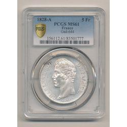 5 Francs Charles X - 1828 A Paris - PCGS MS61 83501777