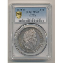 5 Francs Louis philippe I - 1834 W Lille - PCGS MS62 83615787