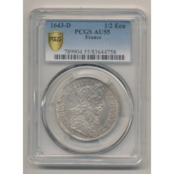 Louis XIII - 1/2 écu de Warin - 1643 D Lyon - PCGS AU55 83644758
