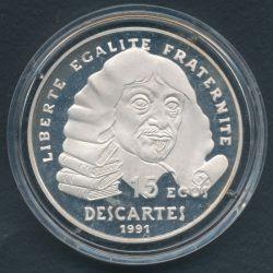100 Francs - 15 Écus Descartes 1991
