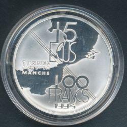 100 Francs - 15 Écus Tunnel sous la manche 1994