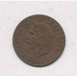 2 centimes Napoléon III - 1861 K Bordeaux - Tête laurée