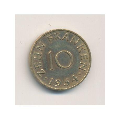 Sarre - 10 Franken - 1954