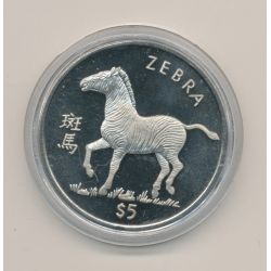 Libéria - 5 Dollars - 1997 - zèbre