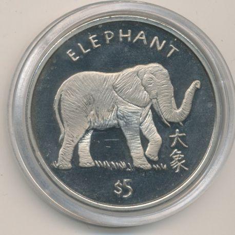 Libéria - 5 Dollars - 1997 - éléphant