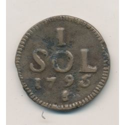 Luxembourg - 1 Sol - 1795 - Siège du Luxembourg