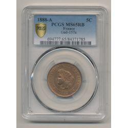 Cérès - 5 centimes - 1888 A Paris - PCGS MS65RB
