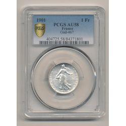 Semeuse - 1 Franc - 1901 - argent - PCGS AU58