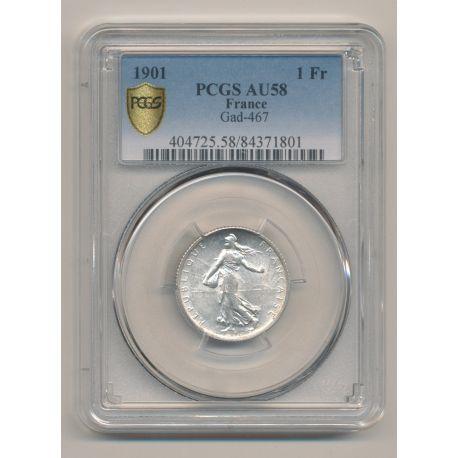 Semeuse - 1 Franc - 1901 - argent - AU58