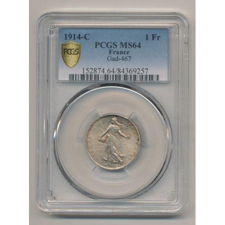 Semeuse - 1 Franc - 1914 C - argent - PCGS MS64
