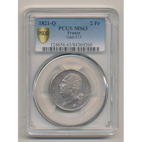 Louis XVIII - 2 Francs - 1821 Q Perpignan - PCGS MS63