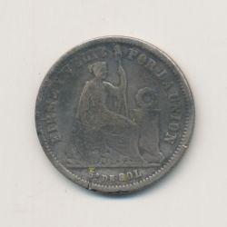 Pérou - 1/5 Sol - 1864 YB - argent