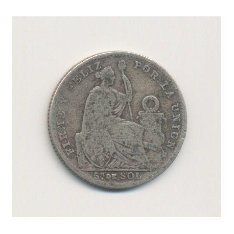 Pérou - 1/5 Sol - 1907 - argent