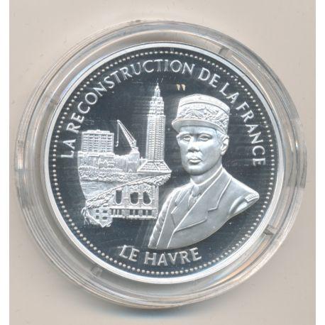 Médaille - La reconstruction de la France - le havre - La France Victorieuse - argent