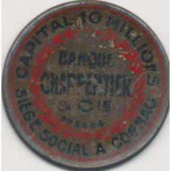 Timbre-monnaie- 5 Centimes vert sur fond rouge - Banque charpentier