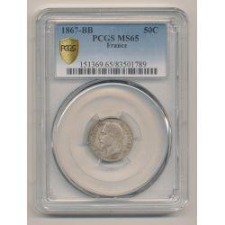 50 centimes Napoléon III - 1867 BB Strasbourg - Tête laurée - PCGS MS65 83501789