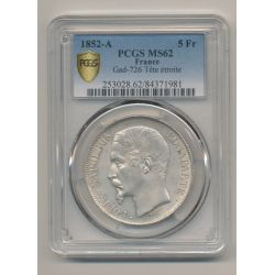 Louis Napoléon Bonaparte - 5 Francs - 1852 A Paris - PCGS MS62